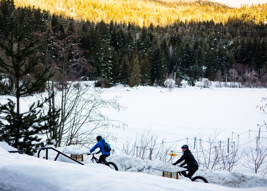 Fat bikes are a great way to explore Whistler Creekside in the winter.