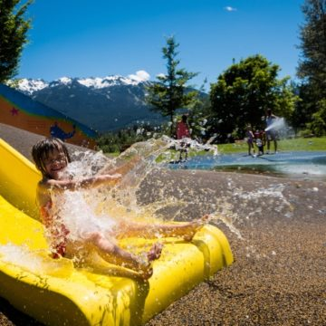 Great way to cool off at the Meadow Park kids water park. Photo: Tourism Whistler/Mike Crane