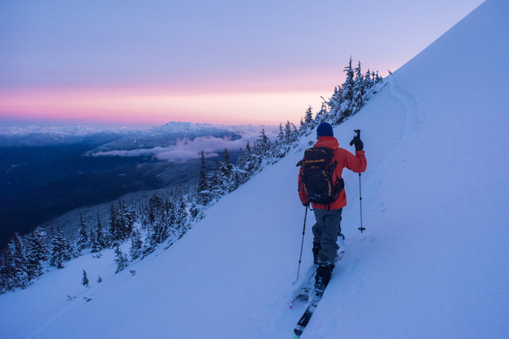 Backcountry ski touring in Whistler.