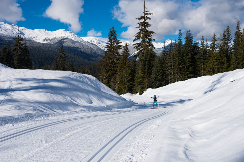 Nordic cross-country skiing on a sunny day in Whistler.