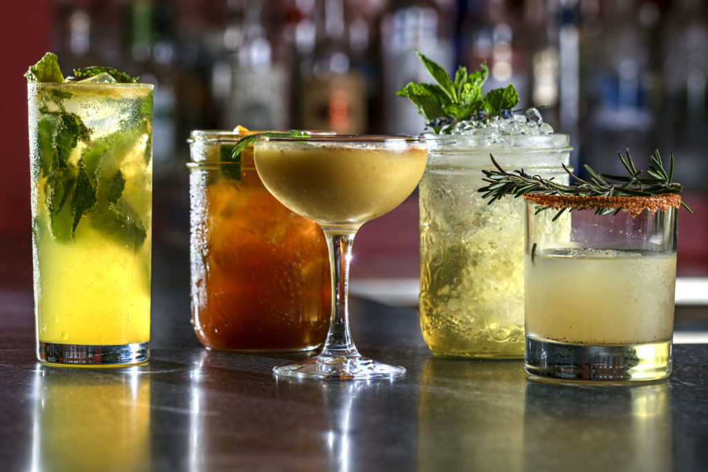 A variety of craft cocktails available at the Cure Lounge & Patio.