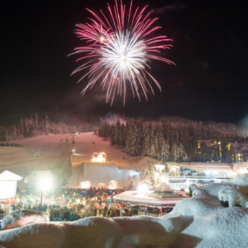 New Years fireworks over skiers plaza