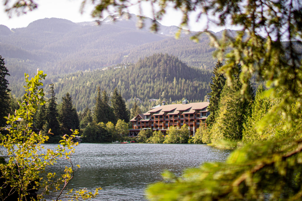 Nita Lake Lodge offers a beautiful lakeside patio - perfect for a refreshing drink!