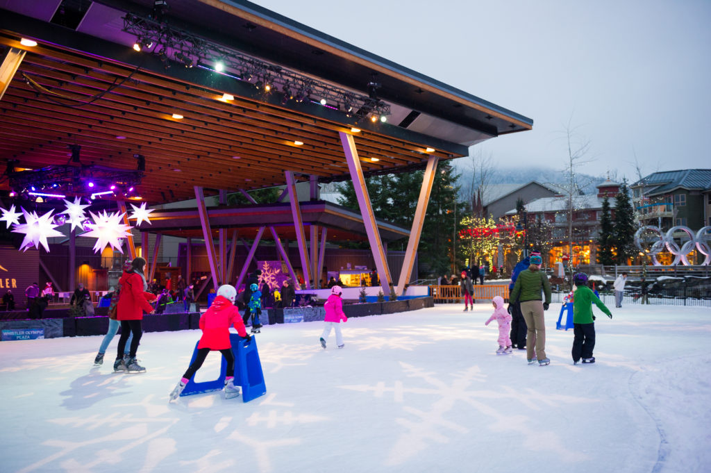 Ice Skating at Olympic Plaza is a fun time for the whole family! PC: Tourism Whistler/Mike Crane