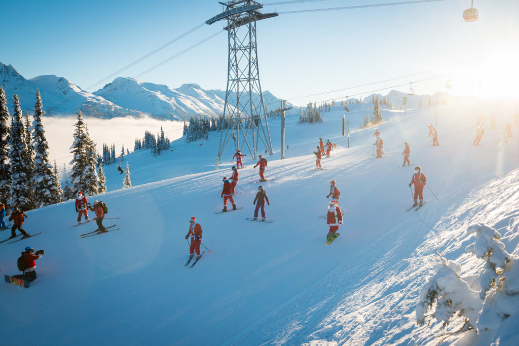 December 20th is 'Dress Like Santa Day' on the mountain. PC: Tourism Whistler/Mike Crane.