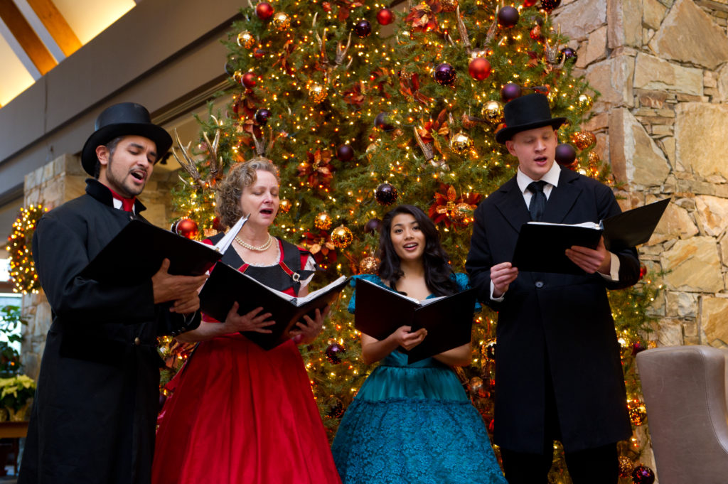 Caroling at the Fairmont Chateau Whistler. PC: Tourism Whistler/Mike Crane.