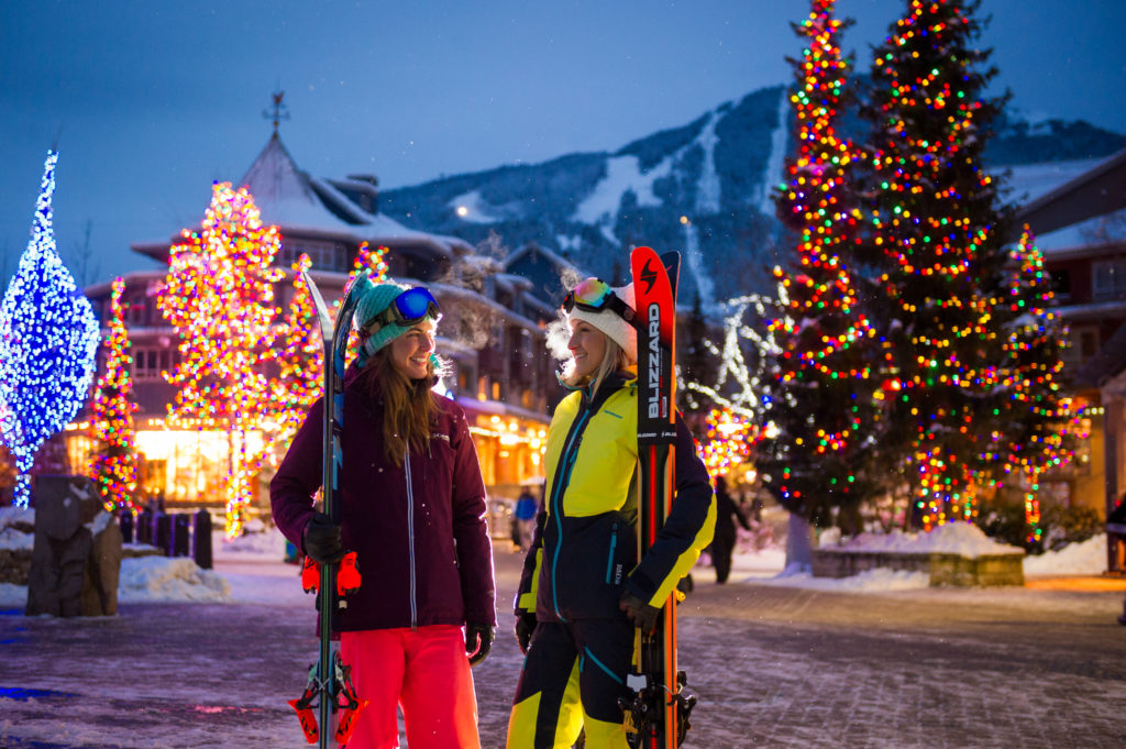 Whistler village at dusk. PC: Tourism Whistler/Mike Crane.