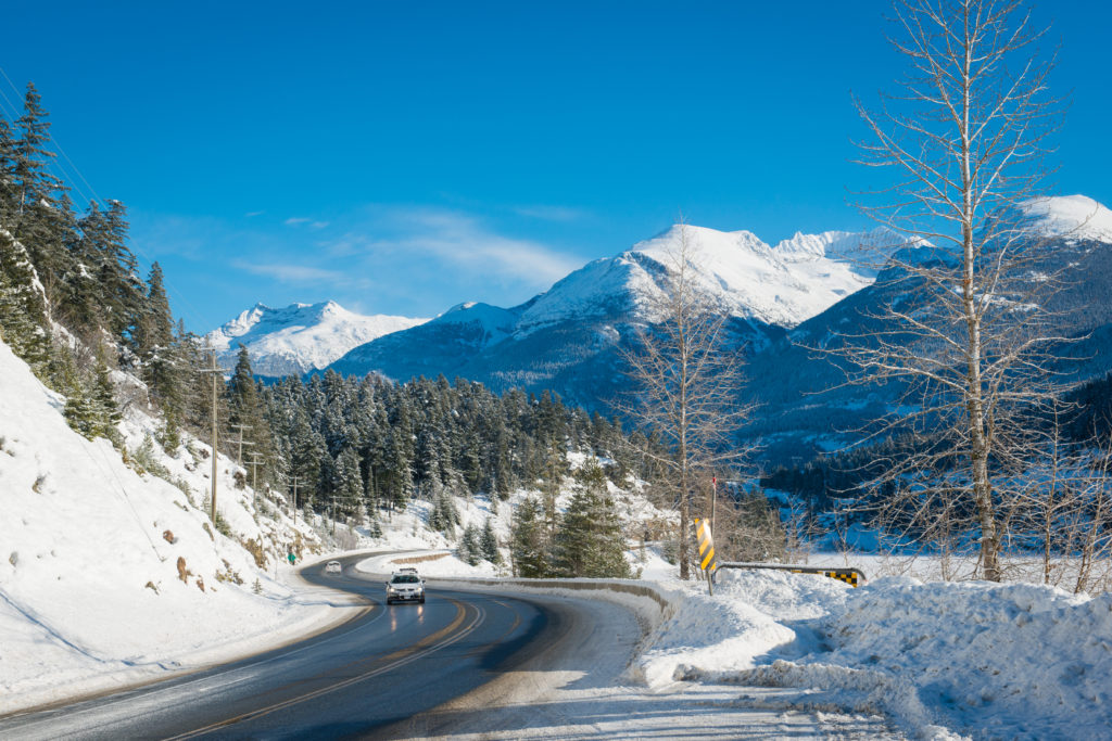 Highway 99 through Whistler. PC: Tourism Whistler/Mike Crane