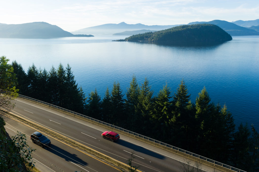 The stunning Sea to Sky Highway north of Vancouver. PC: Tourism Whistler/Mike Crane