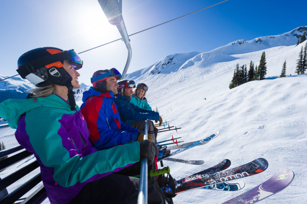 Friends riding the Harmony Chair on a beautiful spring day.  PC: Tourism Whistler/Mike Crane