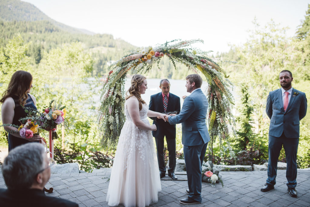 Whistler Elopement Venue: Lakeside Patio at Nita Lake Lodge.